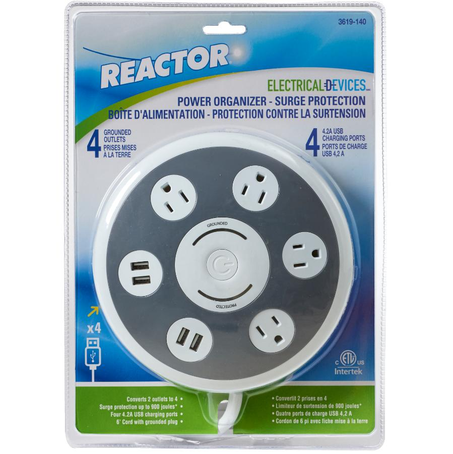 Reactor Round Power Bar Outlet with 4 Plugs and 4 USB Ports