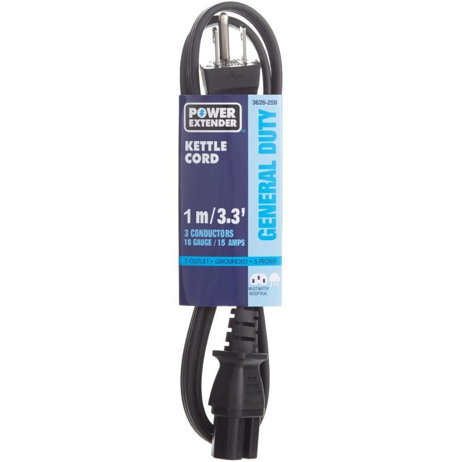 POWER EXTENDER 1M 15 Amp HPN 16/3 Kettle Appliance Cord