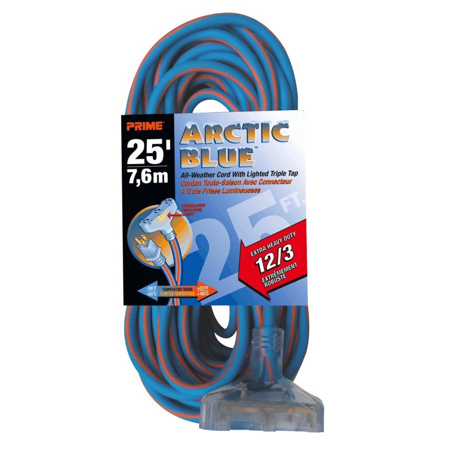 Prime 25' 3 Outlet SJEWO 12/3 Blue Extension Cord