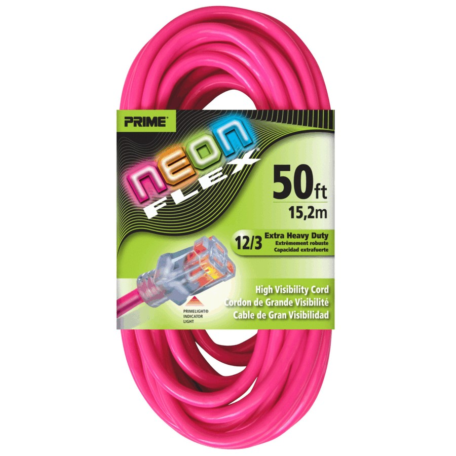 Prime 50' 1 Outlet SJTW 12/3 Neon Pink Extension Cord