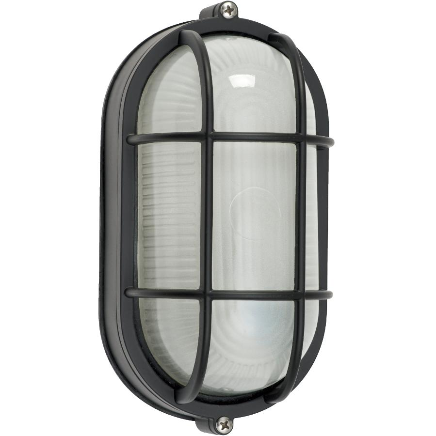 """Galaxy 8.5"""" Black Oval Outdoor Wall Light Fixture with Frosted Glass"""