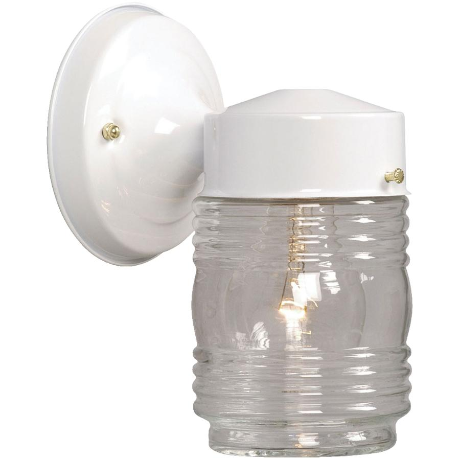 """Galaxy 7"""" White Outdoor Jamjar Light Fixture with Clear Glass"""