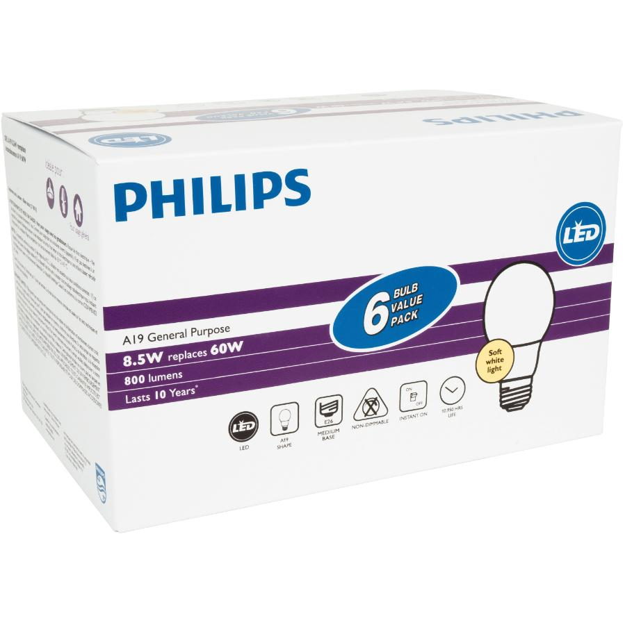 Philips: 6 Pack 8.5W A19 Medium Base Soft White Non-Dimmable LED Light Bulbs