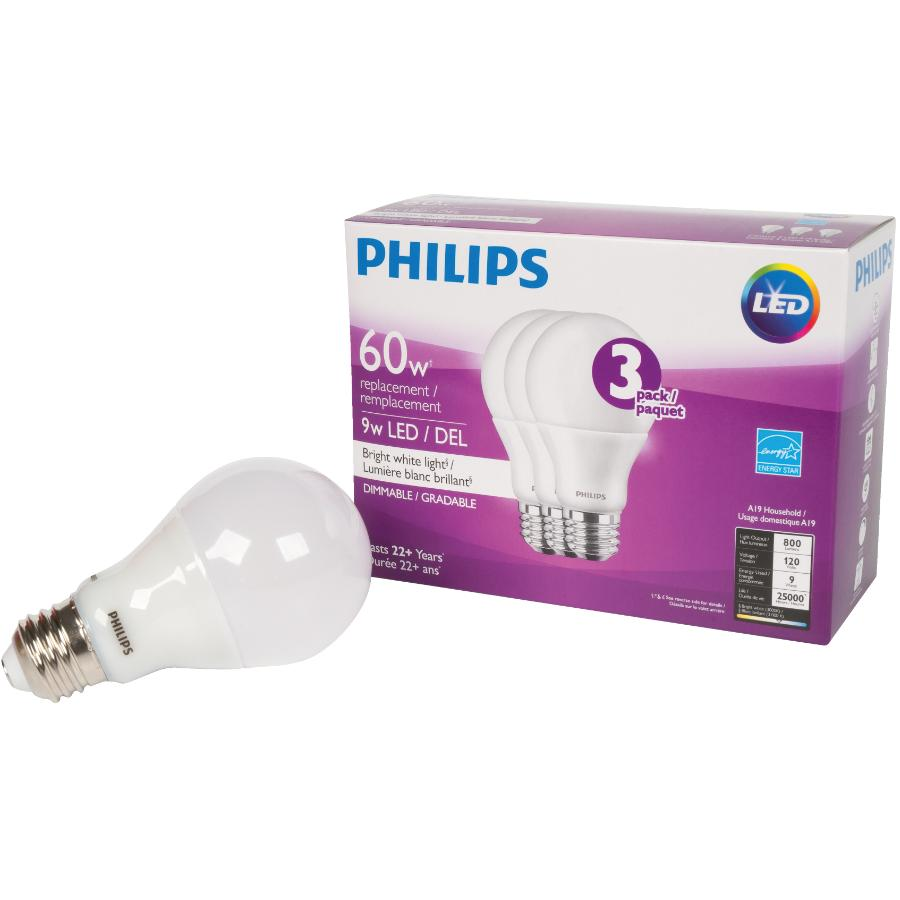 Philips 3 Pack 9W A19 Medium Base Bright White Dimmable LED Light Bulbs