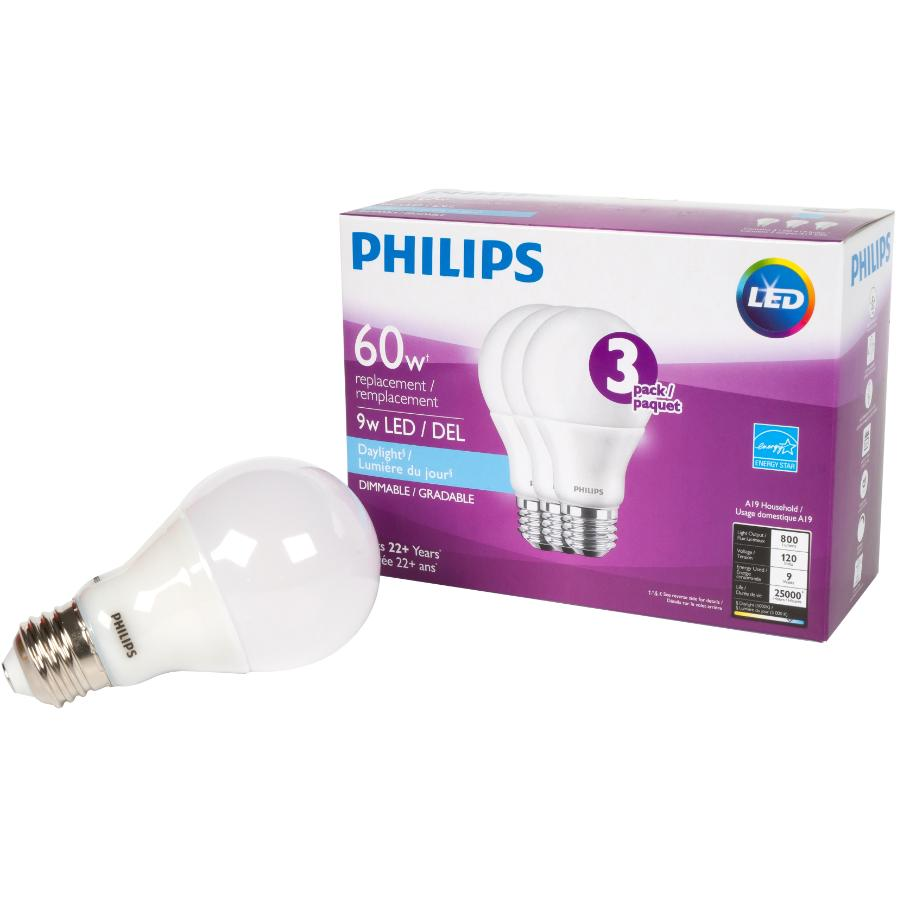 Philips 3 Pack 9W A19 Medium Base Daylight Dimmable LED Light Bulbs