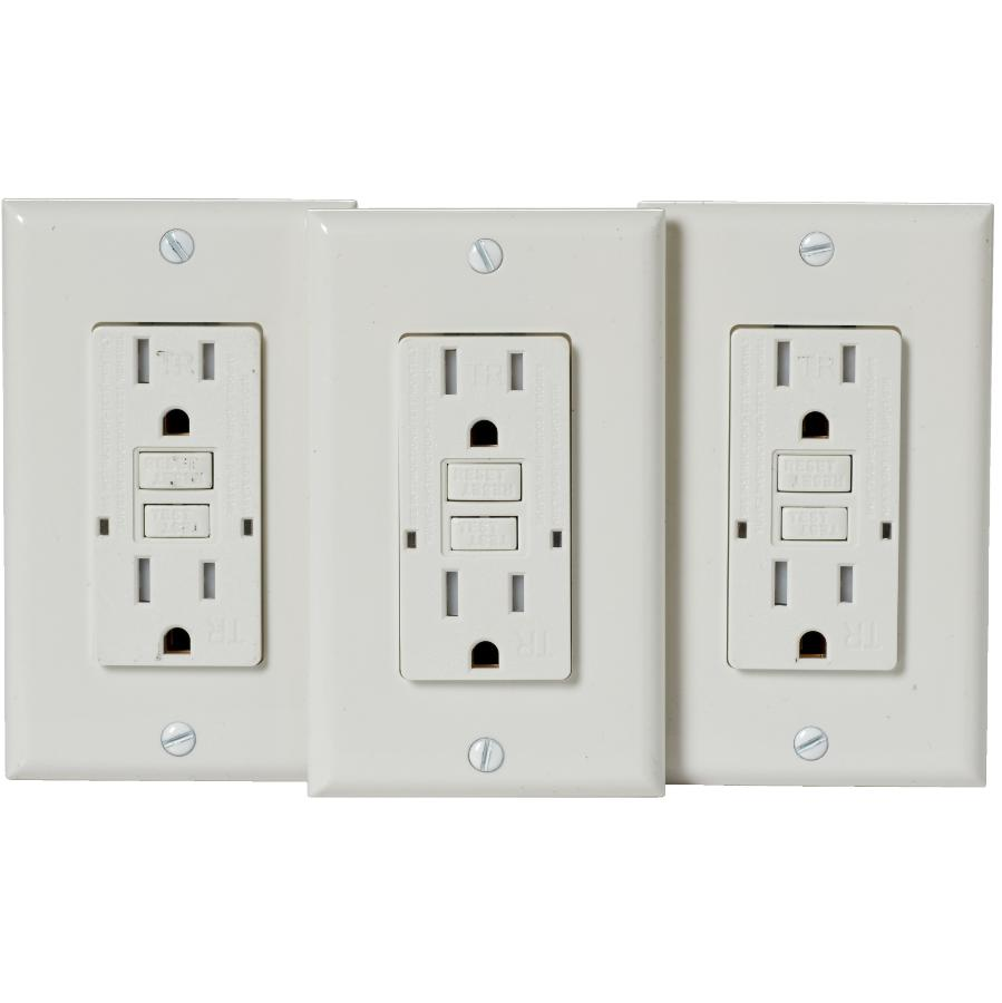 Electrical Devices 3 Pack 15 Amp White Tamper Resistant Receptacles with Plate