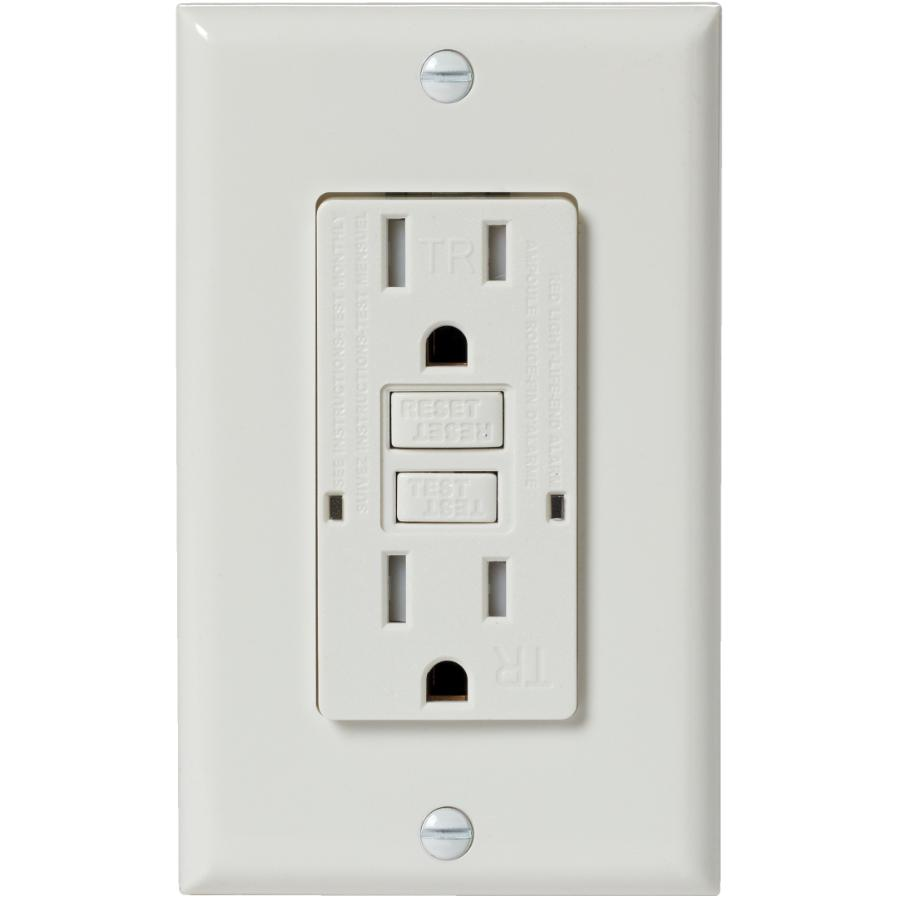 Electrical Devices: 15 Amp White Tamper Resistant GFI Receptacle with Plate