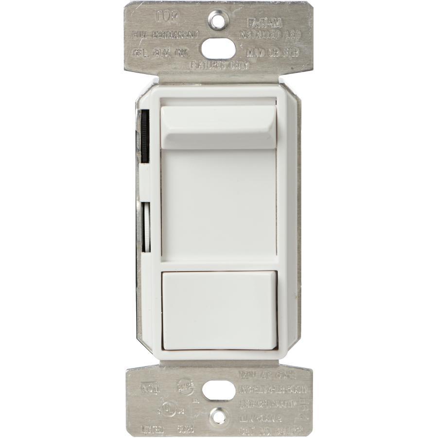EATON 600 Watt Single Pole + 3 Way All Loads White Slide Dimmer Switch with Preset