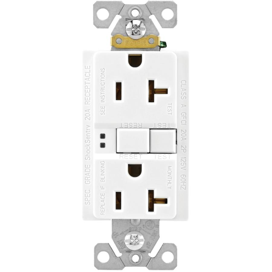 Eaton 20 Amp White Self Test GFI Receptacle with Plate