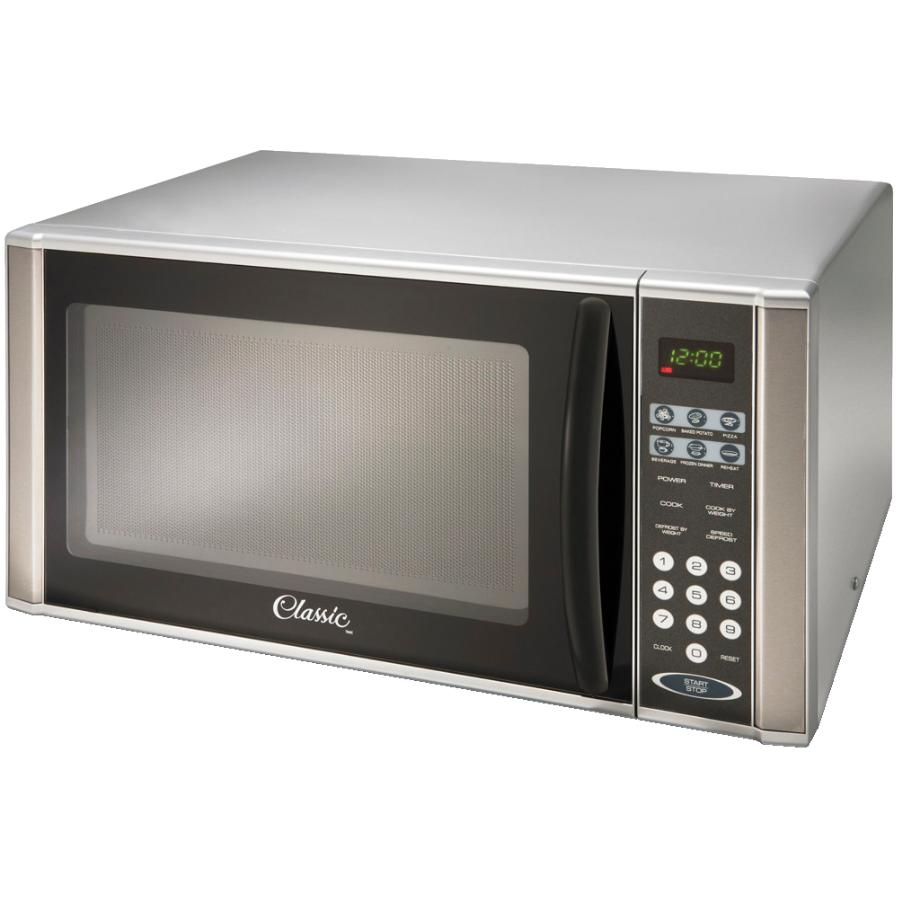 Classic 1000 Watt 1.1Cu.Ft. Grey Countertop Microwave Oven, with Stainless Steel Trim