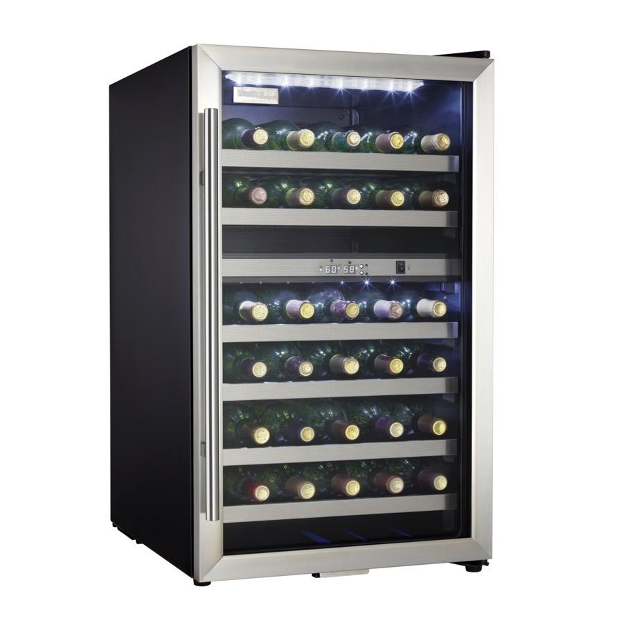 Danby Designer Black Case with Stainless Steel Trim Wine Cooler, Holds 38 Bottles