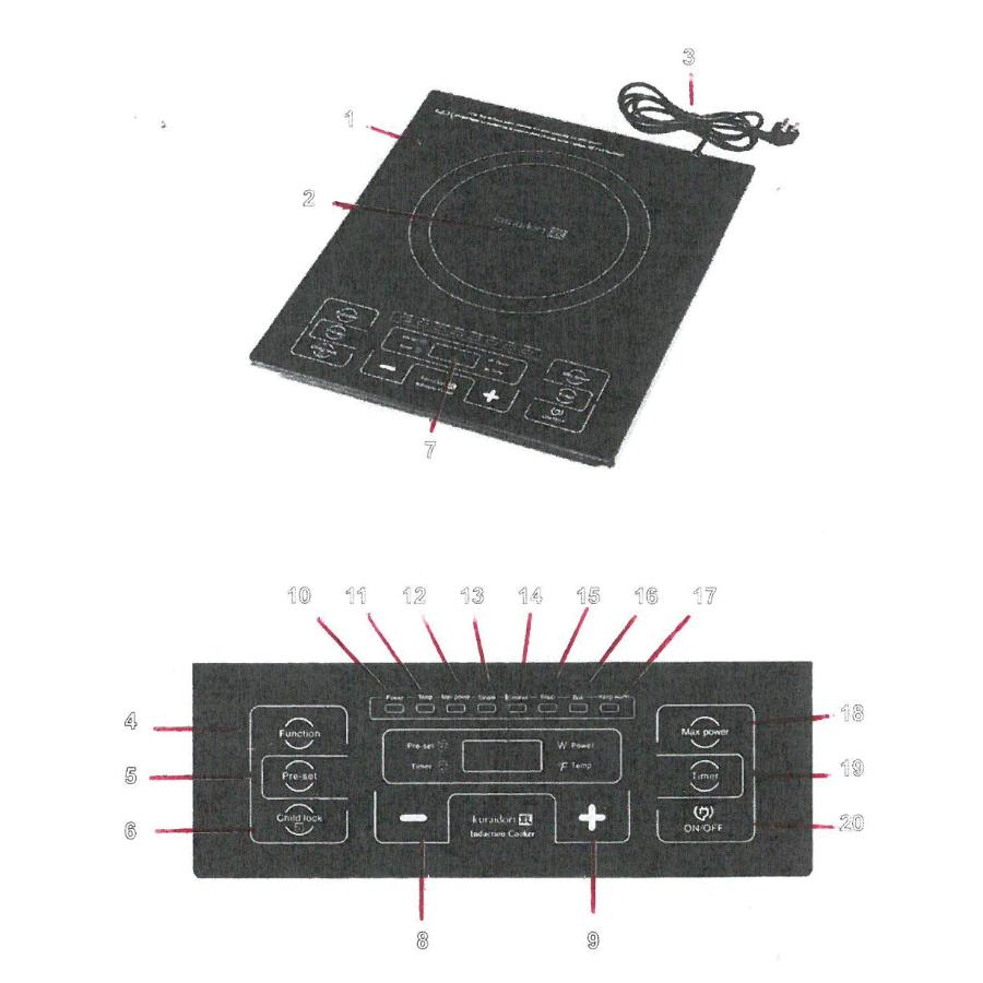 KURAIDORI: 1800 Watt Smooth Top Single Burner Induction Cooker Refurbished
