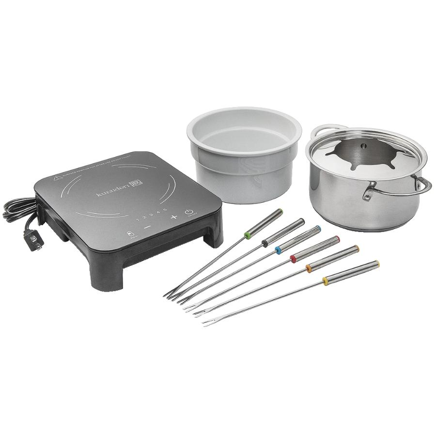 Kuraidori 10 Piece Stainless Steel/Black Ceramic Induction Fondue Pot