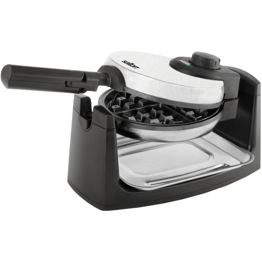 """Salton 7"""" 4 Section Round Black/Brushed Stainless Steel Rotary Waffle Maker"""