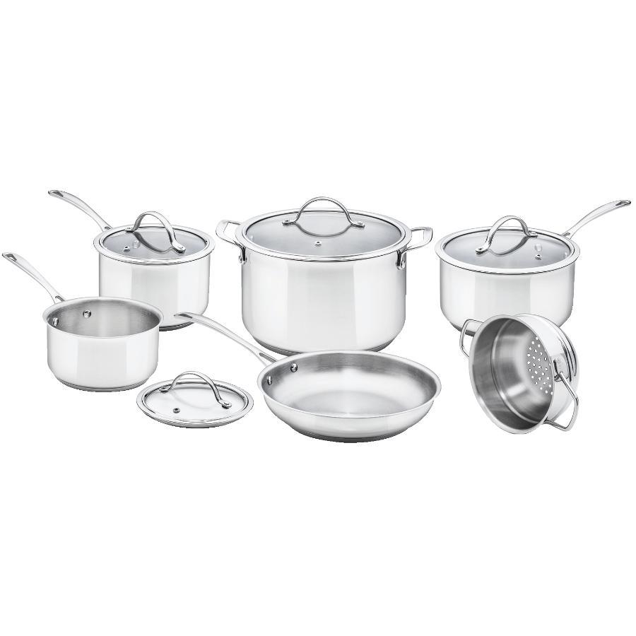 Kuraidori Select: 10 Piece Stainless Steel Cookware Set, with Glass Lids