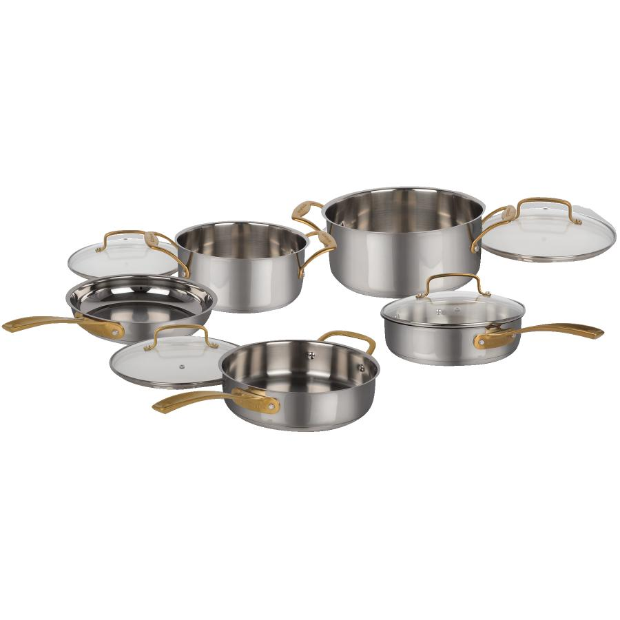 Cuisinart Metal Expressions Stainless Steel Cookware Set - with Glass Lids, 9 Piece