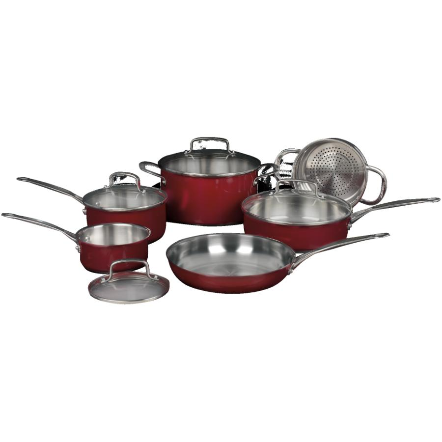 Cuisinart Classic Collection Stainless Steel Cookware Set - with Glass Lids, 10 Piece