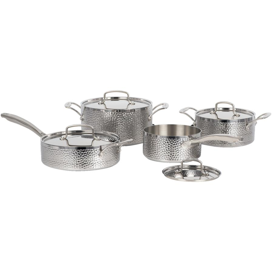 Cuisinart Vintage Hand Hammered Stainless Steel Cookware Set - with Lids, 8 Piece