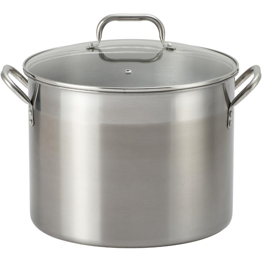 Kitchen Value 16 Quart Stainless Steel Stockpot, with Glass Lid