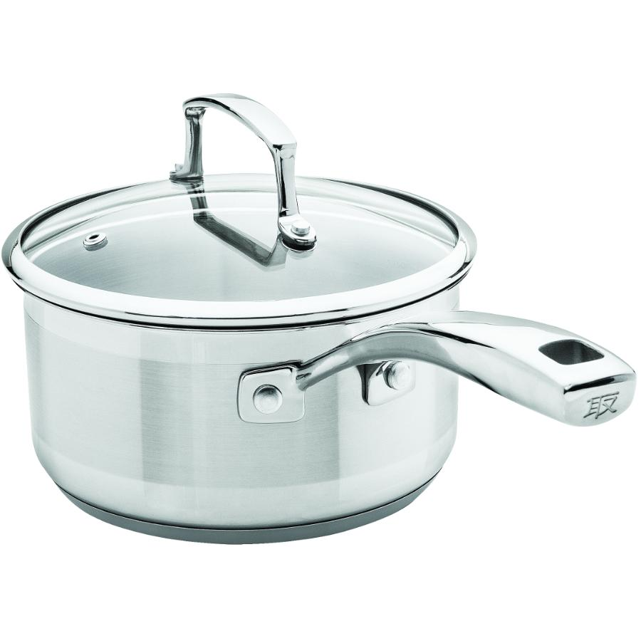 Kuraidori: 1 Quart Stainless Steel Saucepan, with Glass Lid