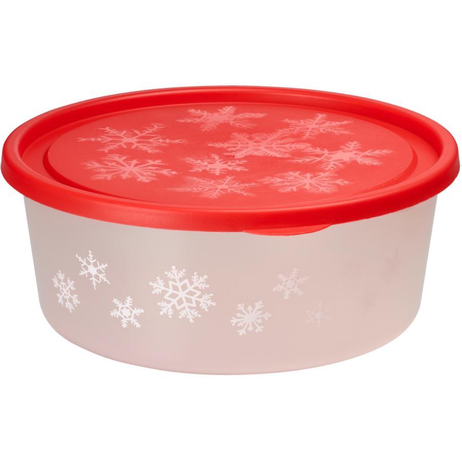 "Santa's Secrets  11"" Round Plastic Storage Container, Assorted Colours"