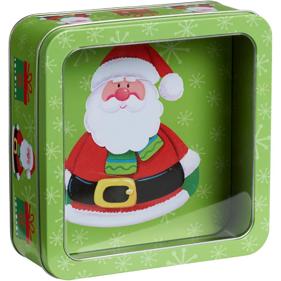 "Santa's Secrets 6.5"" Square Christmas Tin, with Clear Window and Assorted Designs"