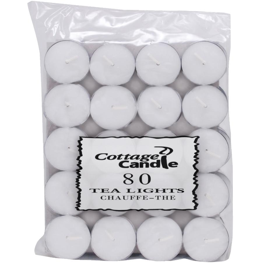 Cottage Candle 80 Pack 3.5 Hour White Tealight Candles