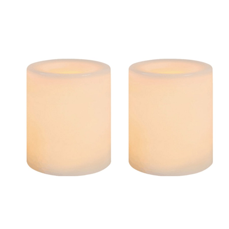 """Inglow 2 Pack 1.5"""" x 1.75"""" White Battery-Operated LED Votive Candles"""