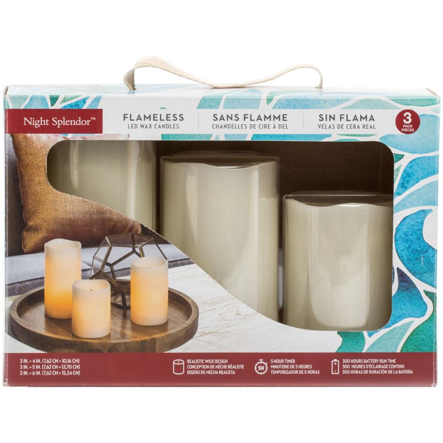 Inglow 3 Pack Cream Battery-Operated LED Pillar Candles, with 5 Hour Timer