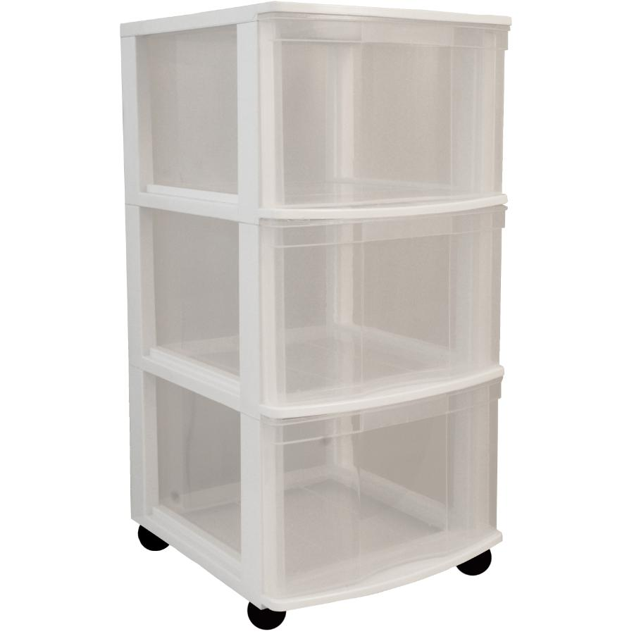 Gracious Living White Plastic 3 Drawer Chest, with Casters