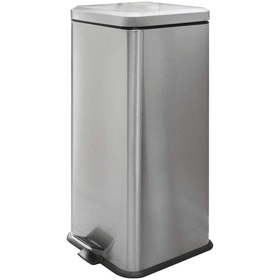 Homewares 30L Stainless Steel Square Step-On Garbage Can