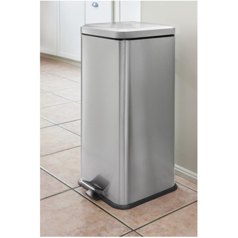 Homewares: 30L Stainless Steel Square Step-On Garbage Can