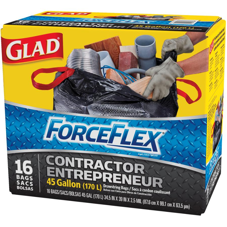 """GLAD 16 Pack 34"""" x 36"""" Black Contractor Force Flex Garbage Bags"""