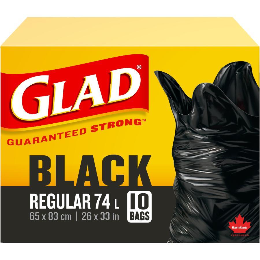 """Glad 10 Pack 26"""" x 32-1/2"""" Black Garbage Bags"""