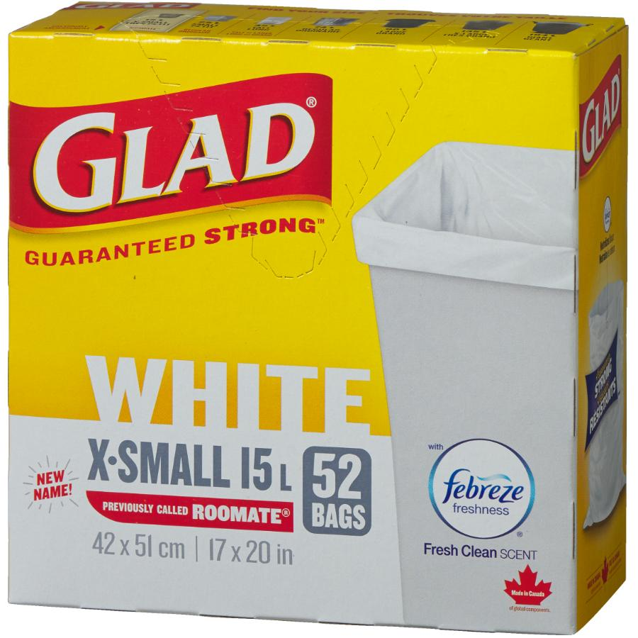 """Glad 52 Pack 16.5"""" x 20"""" White Garbage Bags"""