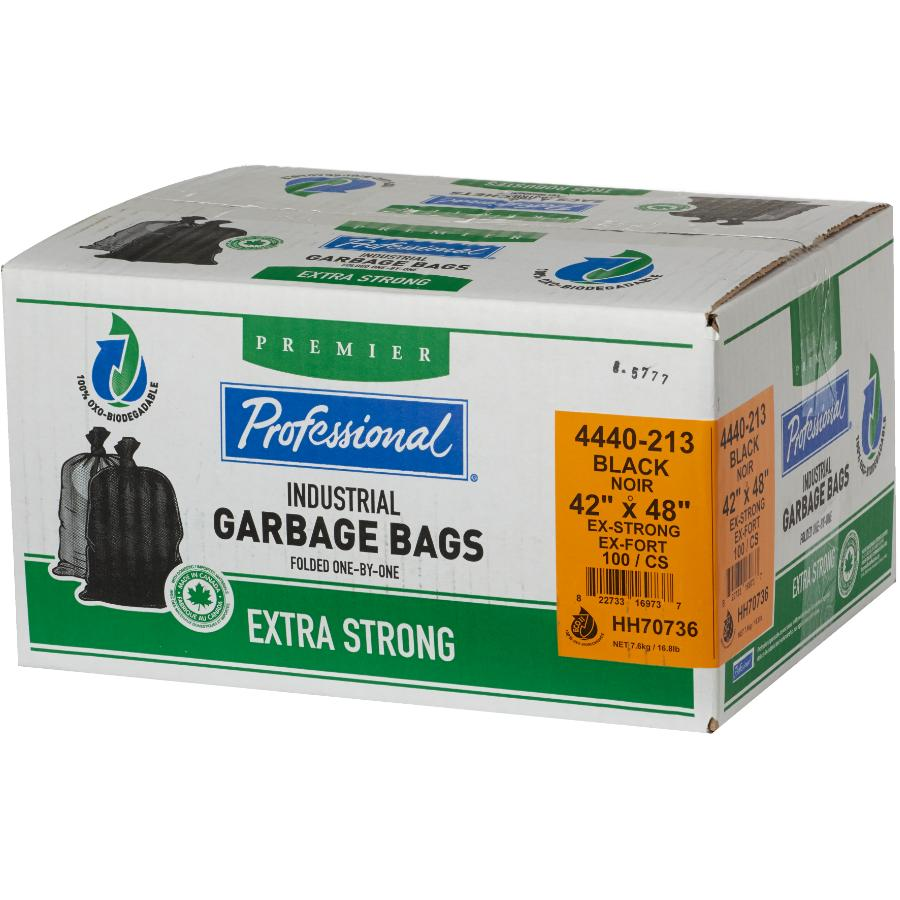 "PROFESSIONAL 100 Pack 42"" x 48"" 1.3 Mil Extra Strong Black Decomposable Garbage Bags"