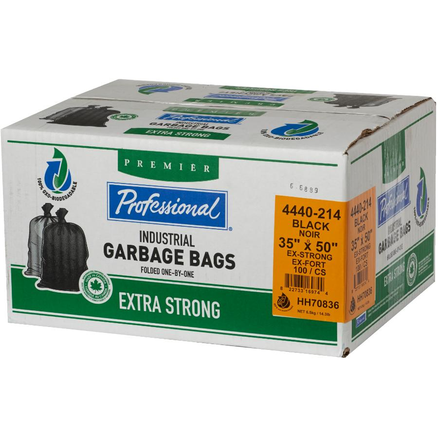 """Professional 100 Pack 35"""" x 50"""" 1.3 Mil Extra Strong Black Decomposable Garbage Bags"""
