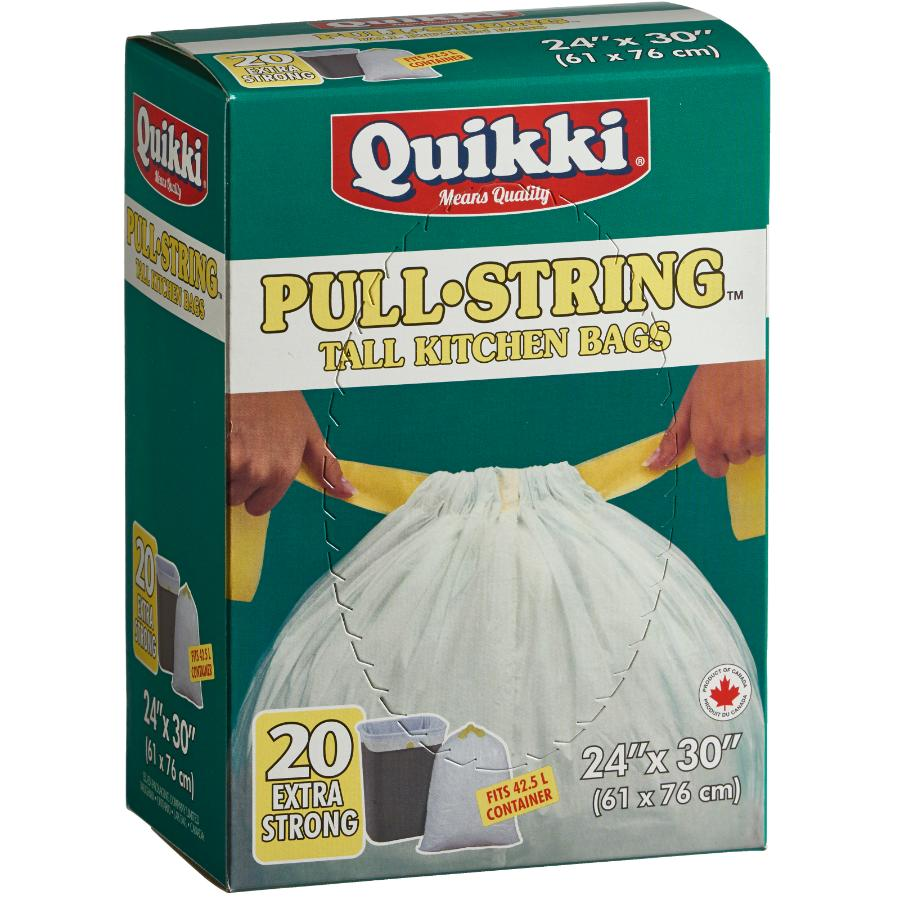 "Quikki 20 Pack 24"" x 30"" White Pull Tie Garbage Bags"