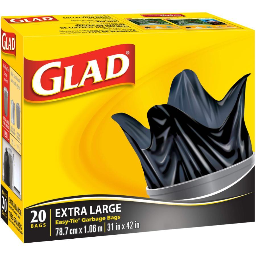 """Glad 20 Pack 31"""" x 42"""" Extra Large Black Easy Tie Garbage Bags"""
