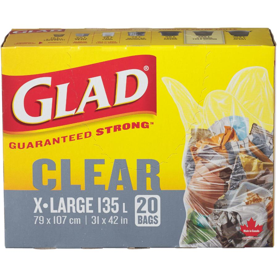 """Glad 20 Pack 31"""" x 42"""" Clear Lawn and Leaf Garbage Bags"""