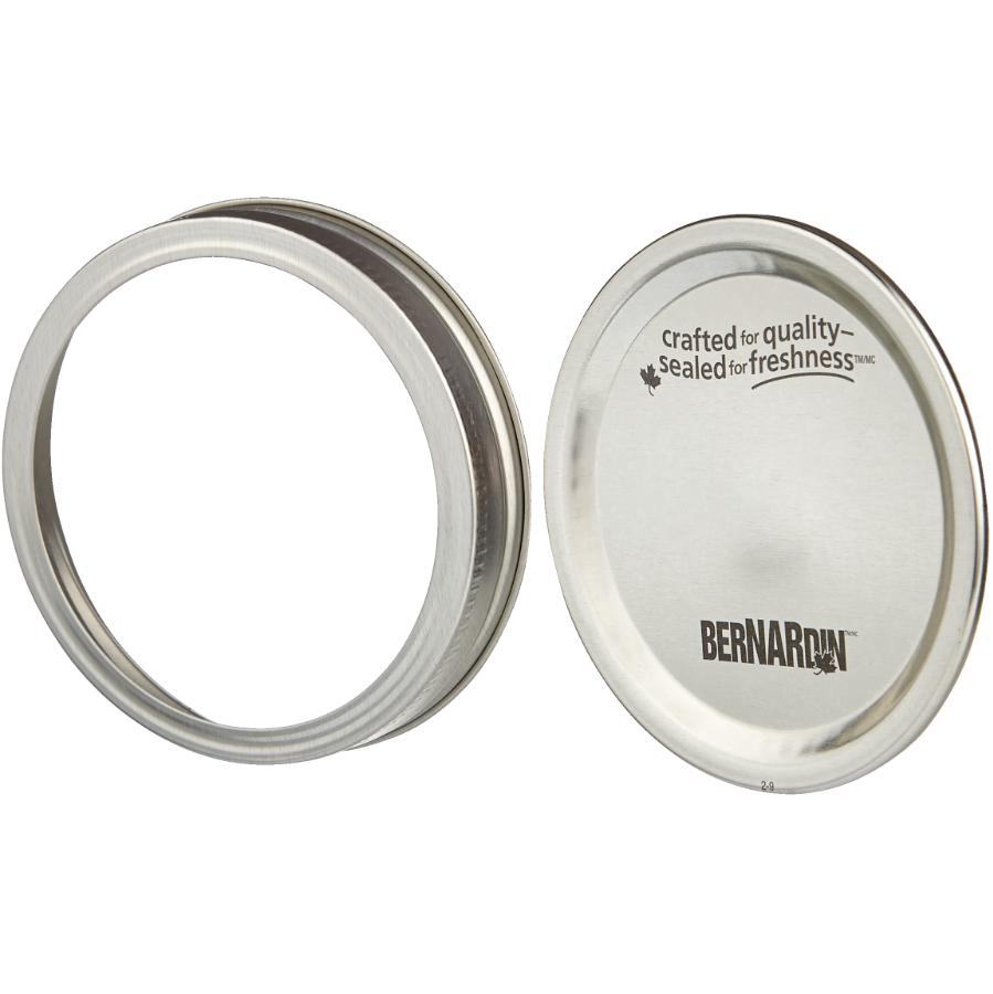 Bernardin 2 Piece 12 Pack Silver Wide Mason Jar Caps