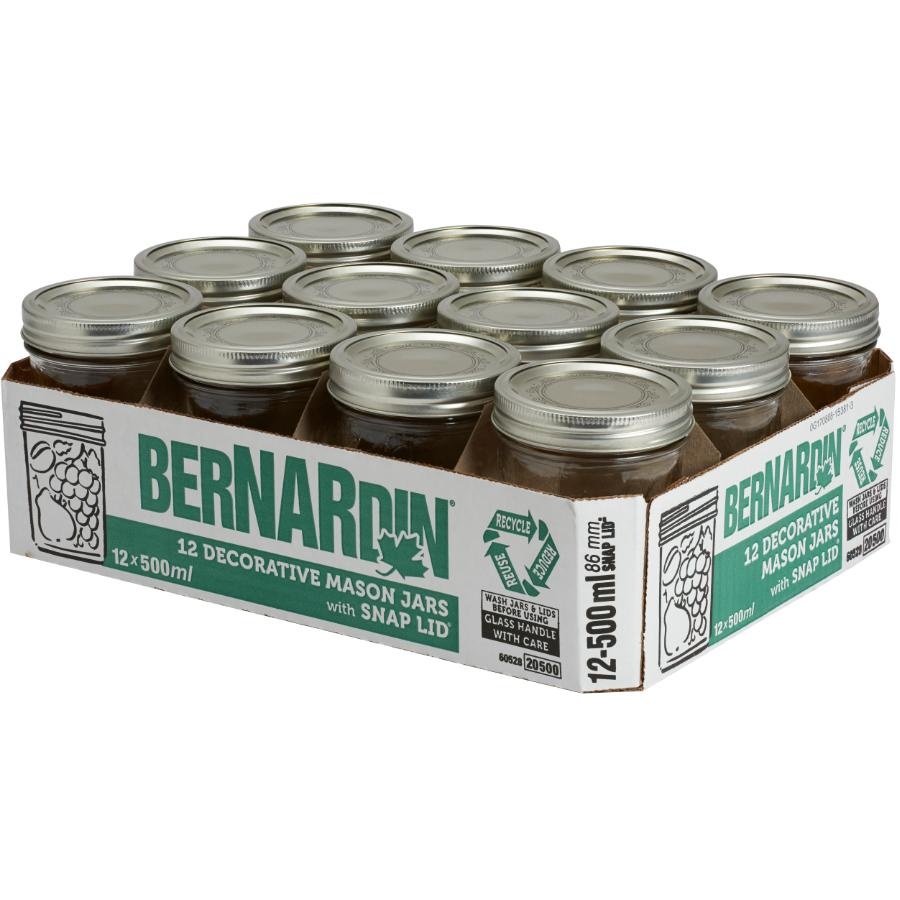 Bernardin 12 Pack 500mL Wide Mason Jars