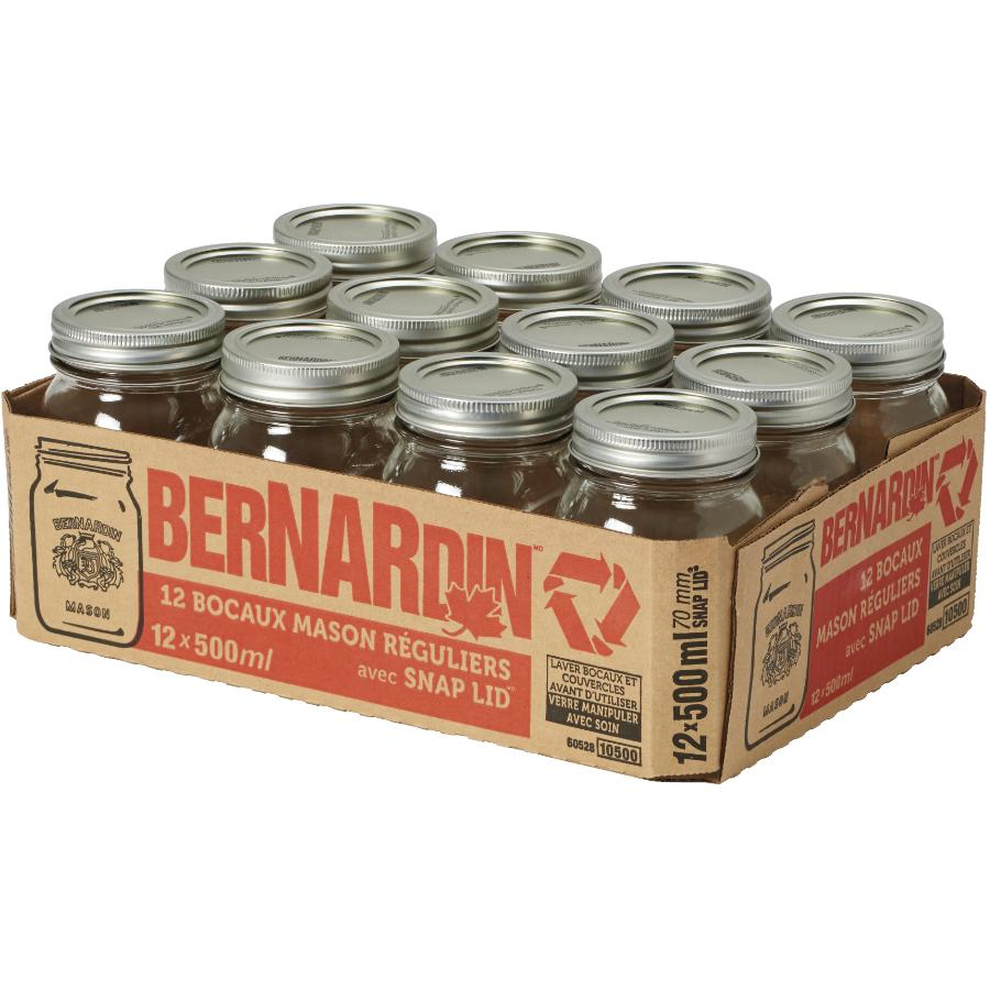 Bernardin 12 Pack 500mL Regular Mason Jars
