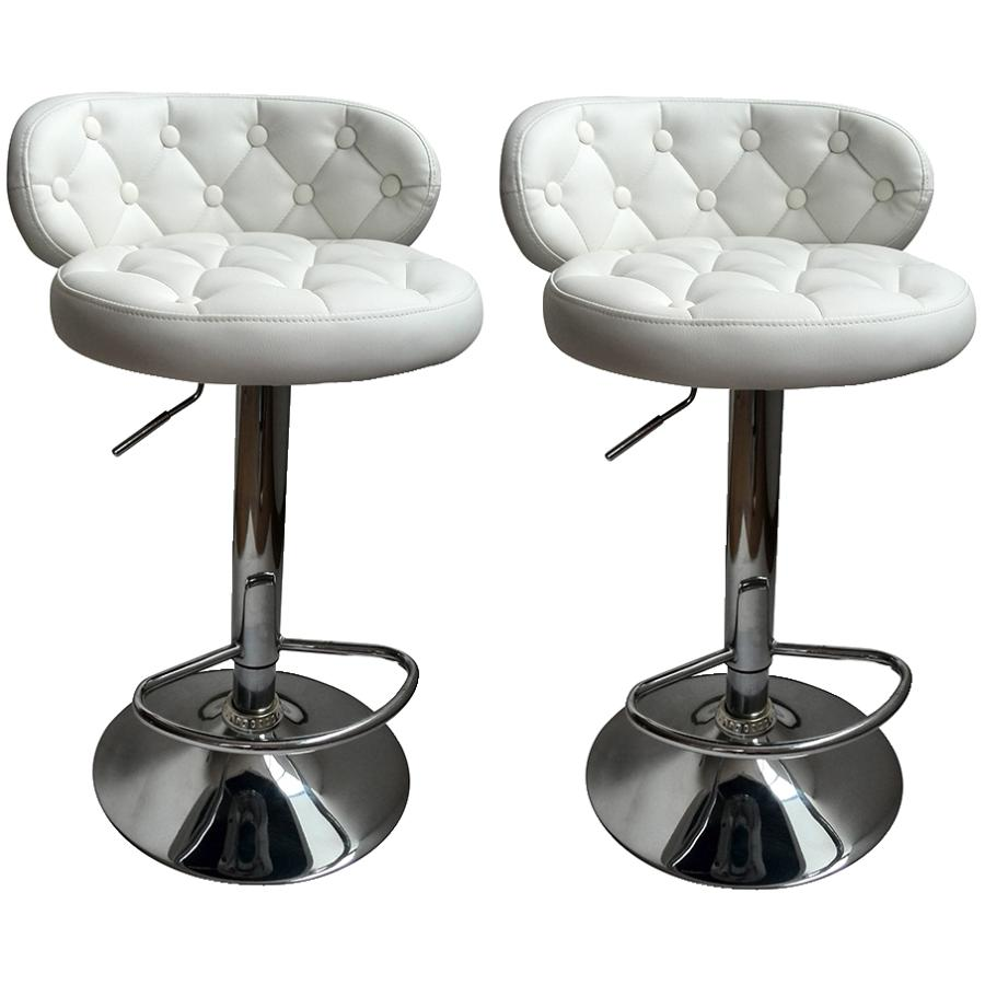 """GENERIC 2 Pack 24-32"""" Curved White Leather/Match Bar Stools"""