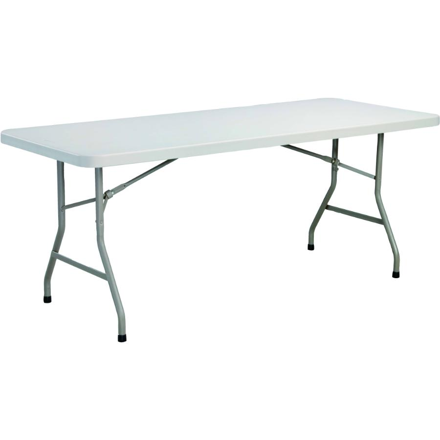 "Home 72"" x 30"" Light Grey Plastic Rectangular Folding Table"