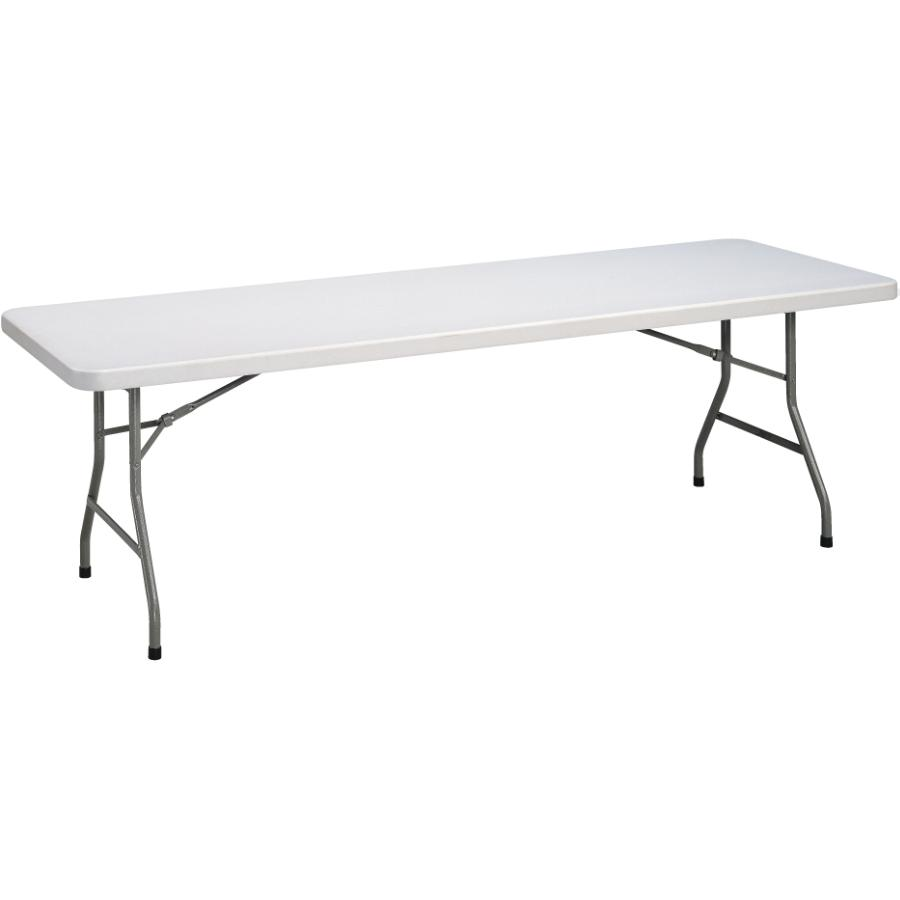 "Home 96"" x 30"" White Granite Heavy Duty Plastic Rectangular Folding Table"
