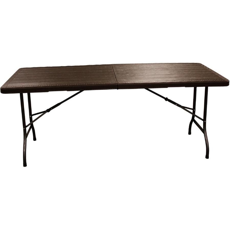 "Enduro 70"" x 29"" Brown Plastic Rectangular Folding Table"
