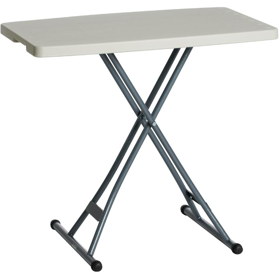 "Enduro 20"" x 30"" White Plastic Adjustable Rectangular Folding Table"
