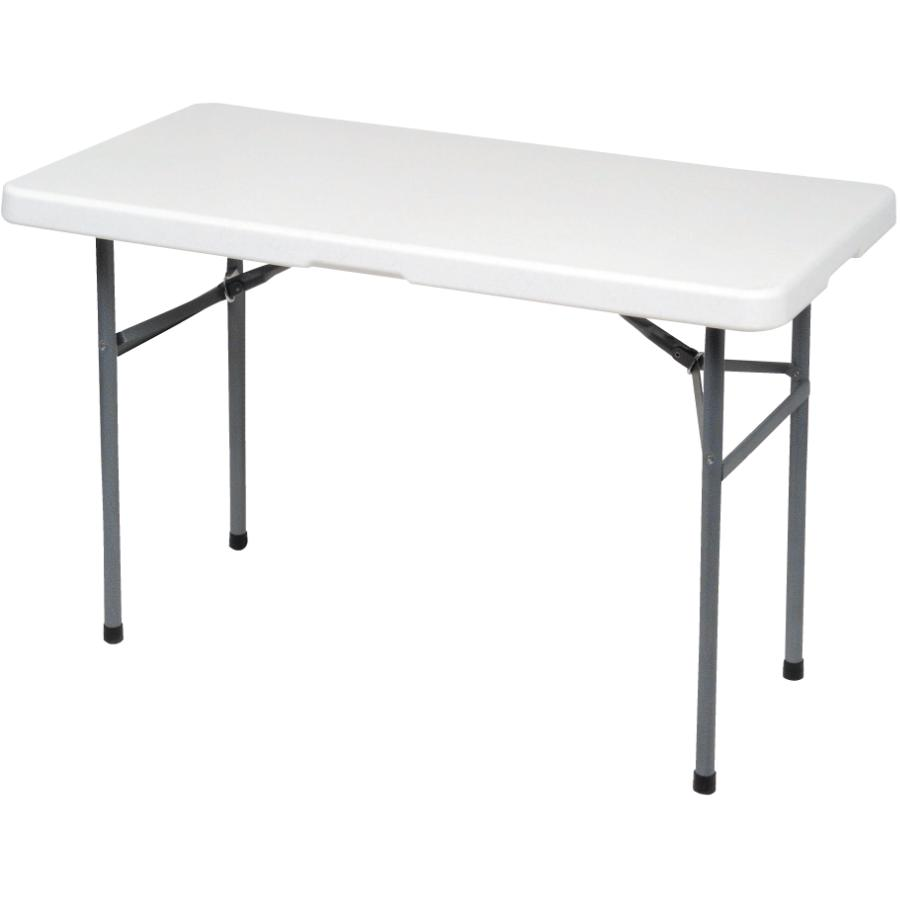 "Enduro 48"" x 24"" White Plastic Rectangular Folding Table"