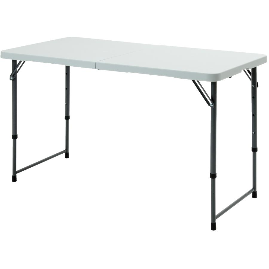 "Enduro 48"" x 24"" White Plastic Rectangular Centerfolding Table, with Telescopic Legs"